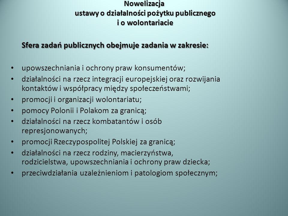 Sfera zadań publicznych obejmuje zadania w zakresie: