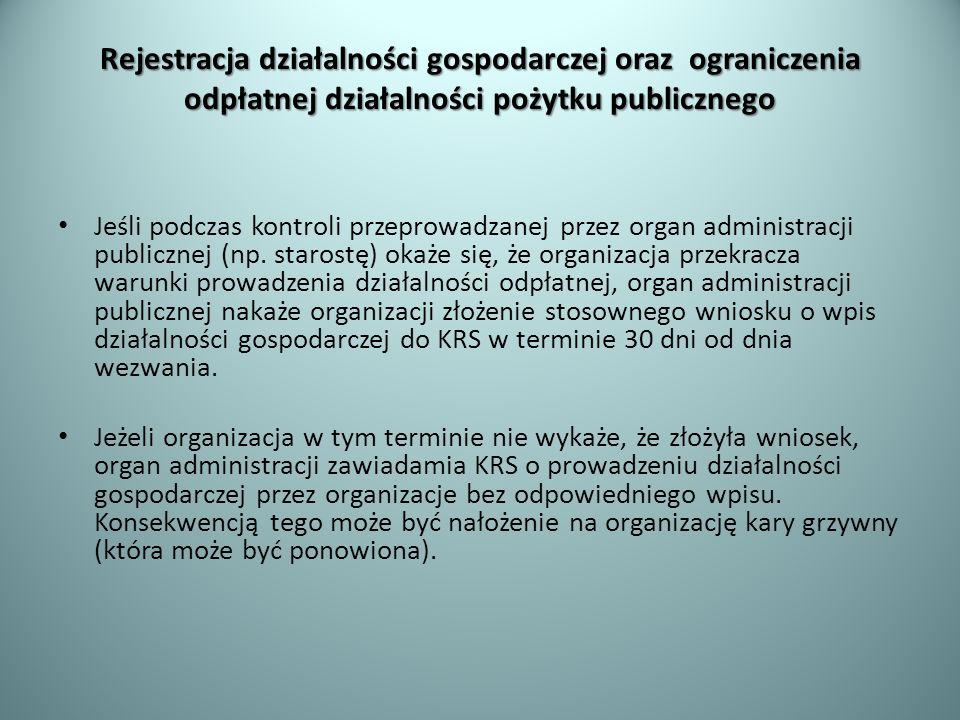 Rejestracja działalności gospodarczej oraz ograniczenia odpłatnej działalności pożytku publicznego
