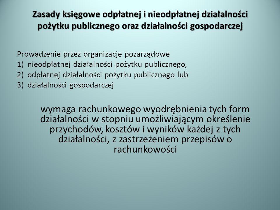 Zasady księgowe odpłatnej i nieodpłatnej działalności pożytku publicznego oraz działalności gospodarczej