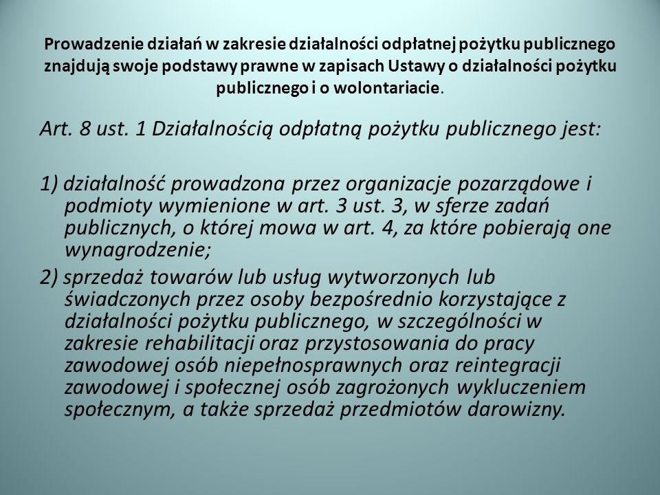 Prowadzenie działań w zakresie działalności odpłatnej pożytku publicznego znajdują swoje podstawy prawne w zapisach Ustawy o działalności pożytku publicznego i o wolontariacie.