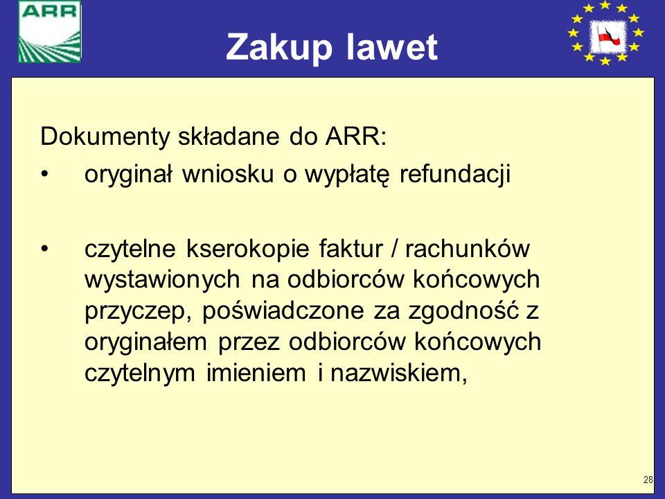 Zakup lawet Dokumenty składane do ARR: