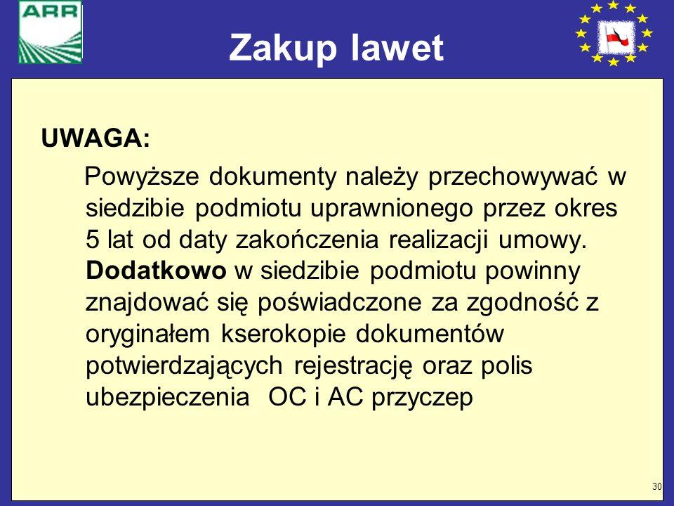 Zakup lawet UWAGA: