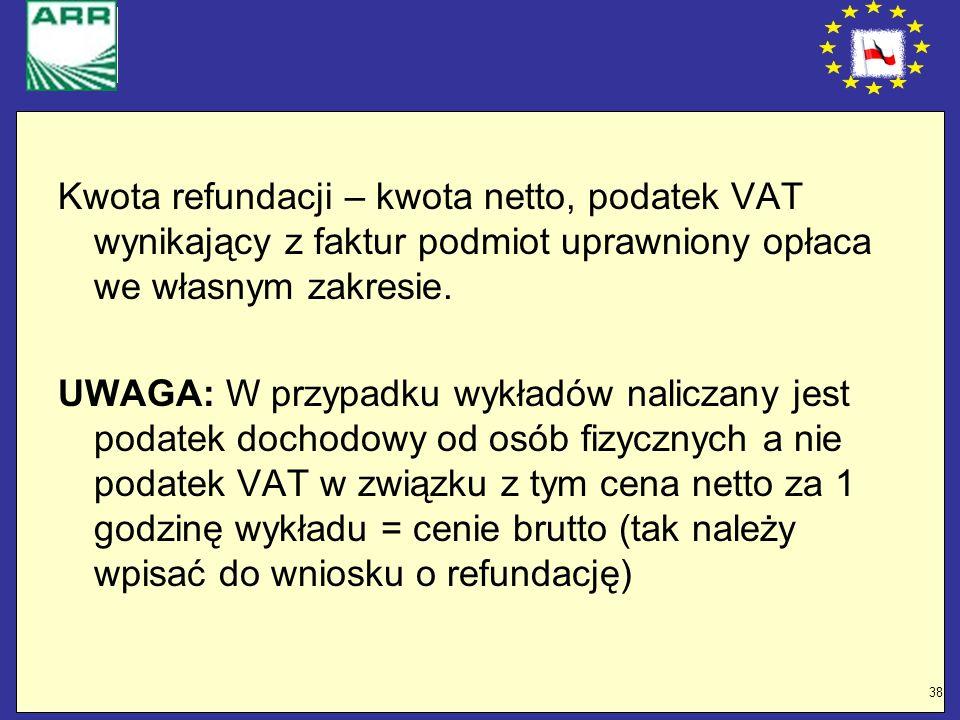 Kwota refundacji – kwota netto, podatek VAT wynikający z faktur podmiot uprawniony opłaca we własnym zakresie.