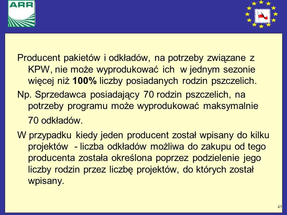 Producent pakietów i odkładów, na potrzeby związane z KPW, nie może wyprodukować ich w jednym sezonie więcej niż 100% liczby posiadanych rodzin pszczelich.