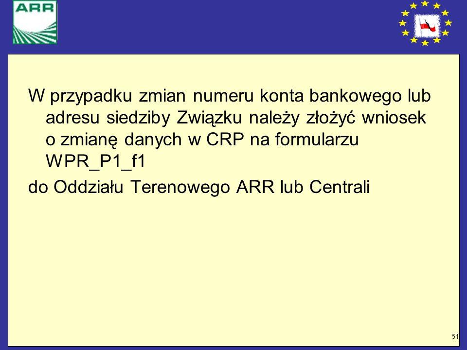 W przypadku zmian numeru konta bankowego lub adresu siedziby Związku należy złożyć wniosek o zmianę danych w CRP na formularzu WPR_P1_f1