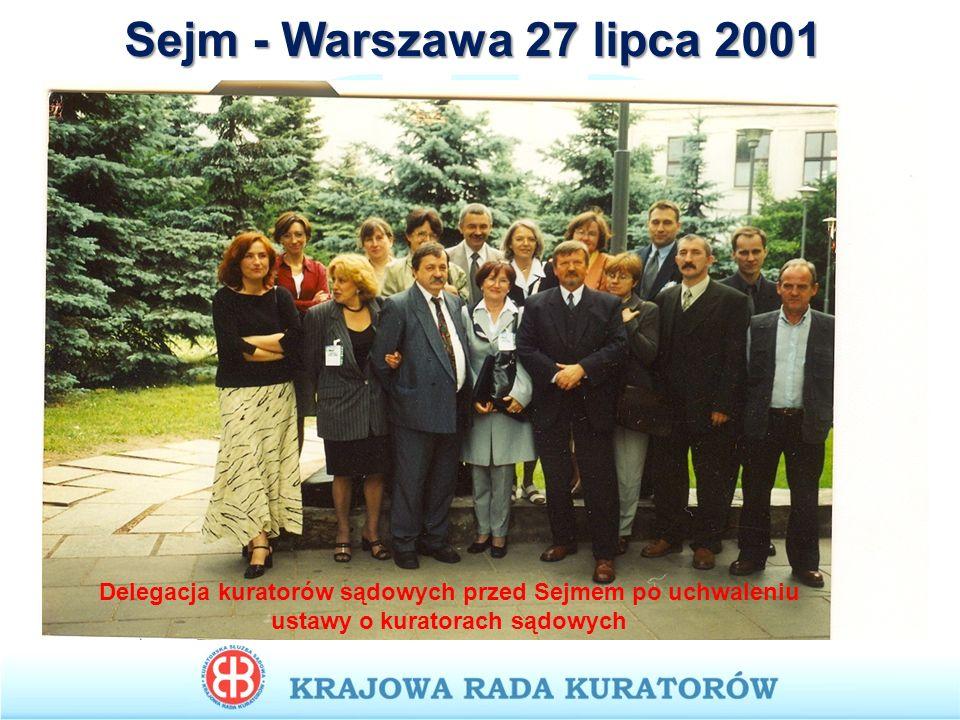 Sejm - Warszawa 27 lipca 2001 Delegacja kuratorów sądowych przed Sejmem po uchwaleniu ustawy o kuratorach sądowych.