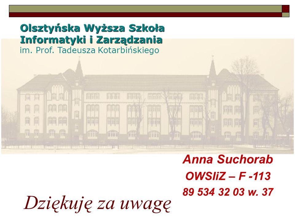 Dziękuję za uwagę Anna Suchorab OWSIiZ – F -113 89 534 32 03 w. 37