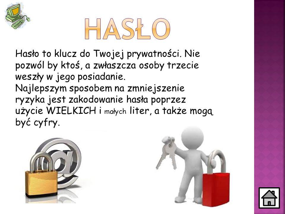hasło Hasło to klucz do Twojej prywatności. Nie pozwól by ktoś, a zwłaszcza osoby trzecie weszły w jego posiadanie.