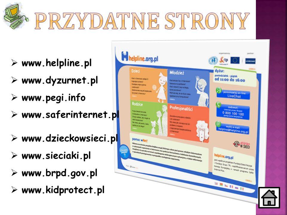 Przydatne strony www.helpline.pl www.dyzurnet.pl www.pegi.info
