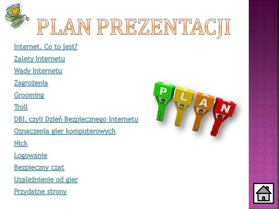 Plan prezentacji Internet. Co to jest Zalety Internetu Wady Internetu
