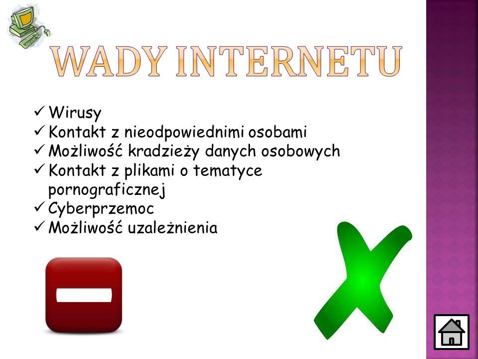 Wady Internetu Wirusy Kontakt z nieodpowiednimi osobami
