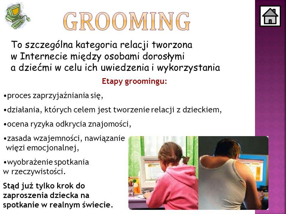 GROOMING To szczególna kategoria relacji tworzona w Internecie między osobami dorosłymi a dziećmi w celu ich uwiedzenia i wykorzystania.