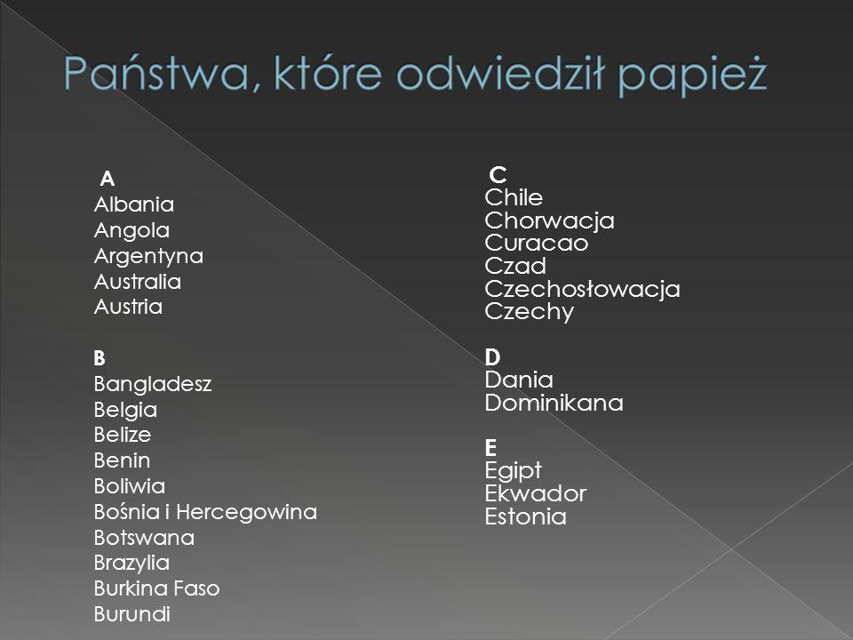 Państwa, które odwiedził papież