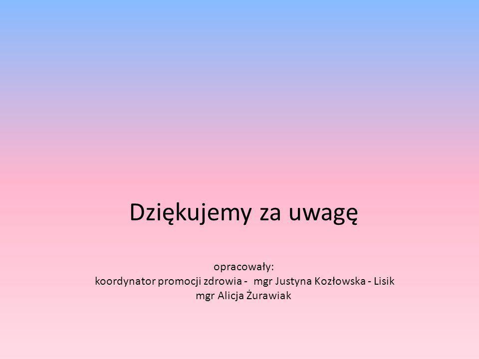 Dziękujemy za uwagę opracowały: koordynator promocji zdrowia - mgr Justyna Kozłowska - Lisik mgr Alicja Żurawiak