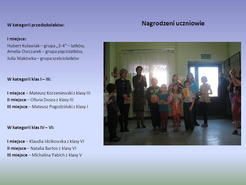 Nagrodzeni uczniowie W kategorii przedszkolaków: I miejsce: