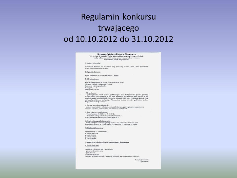 Regulamin konkursu trwającego od 10.10.2012 do 31.10.2012