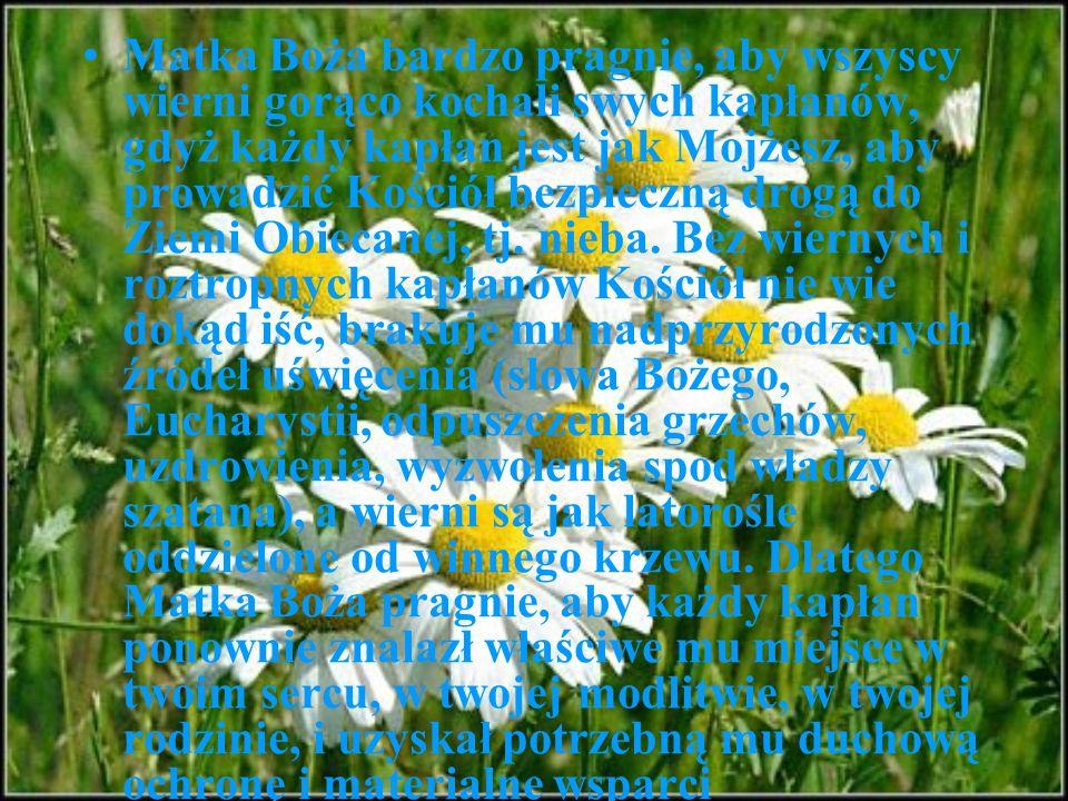 Matka Boża bardzo pragnie, aby wszyscy wierni gorąco kochali swych kapłanów, gdyż każdy kapłan jest jak Mojżesz, aby prowadzić Kościół bezpieczną drogą do Ziemi Obiecanej, tj.