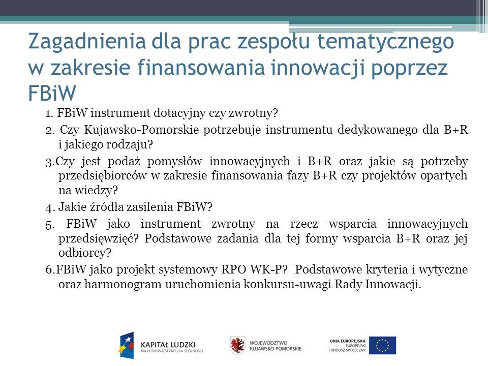 Zagadnienia dla prac zespołu tematycznego w zakresie finansowania innowacji poprzez FBiW
