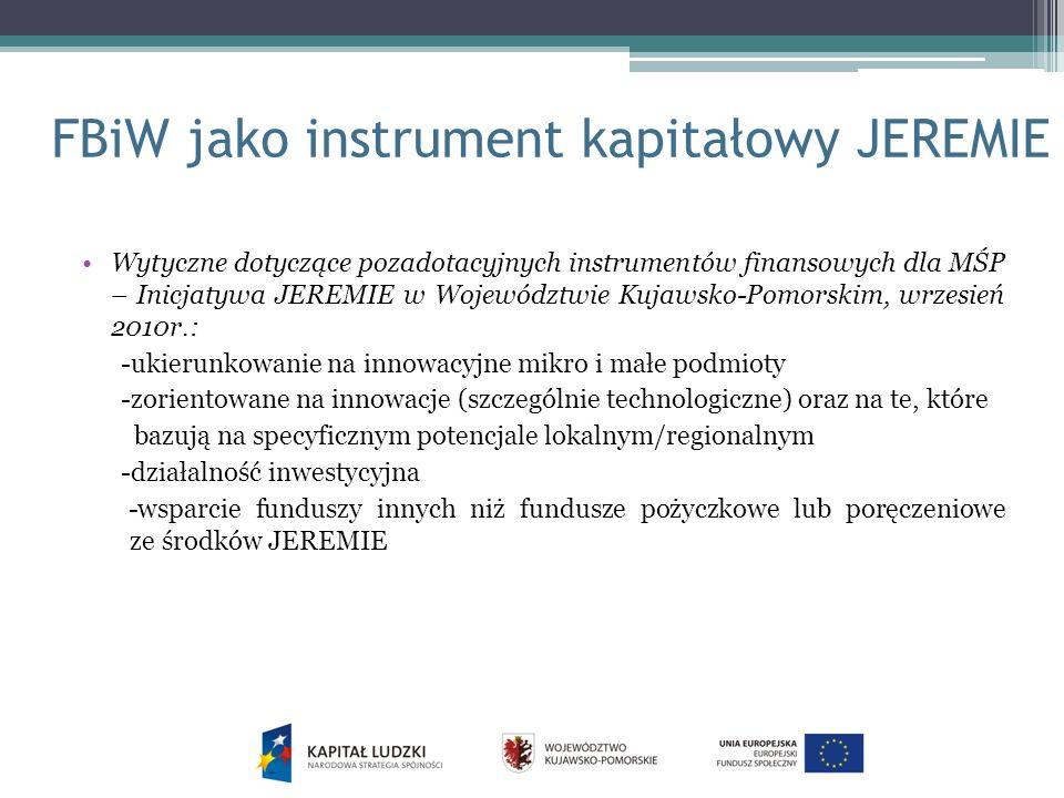 FBiW jako instrument kapitałowy JEREMIE