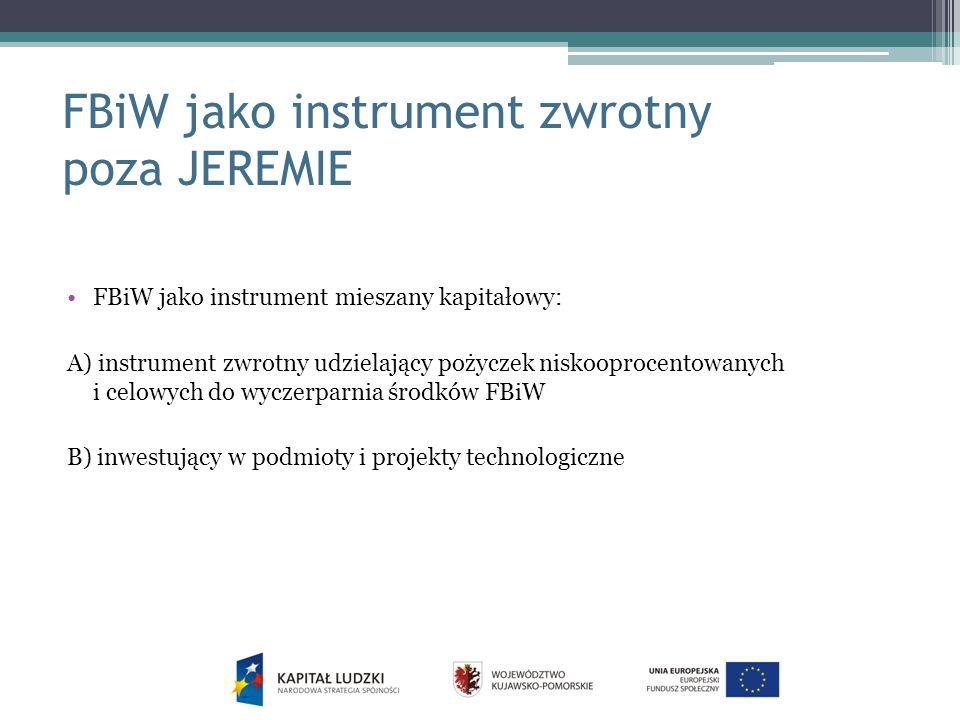FBiW jako instrument zwrotny poza JEREMIE