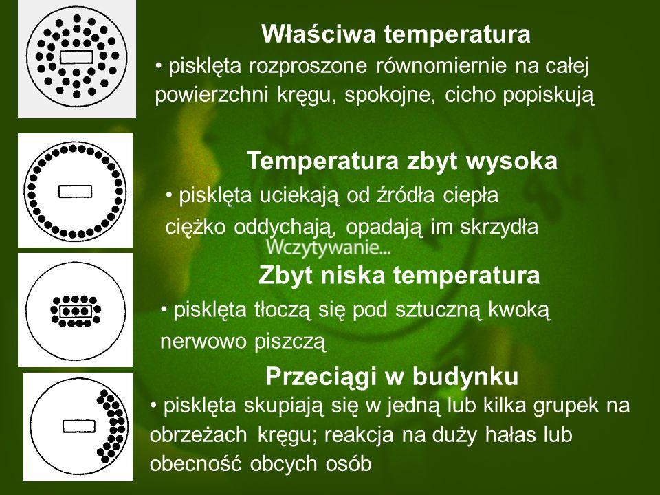 Temperatura zbyt wysoka Zbyt niska temperatura