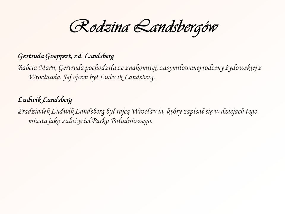 Rodzina Landsbergów Gertruda Goeppert, zd. Landsberg