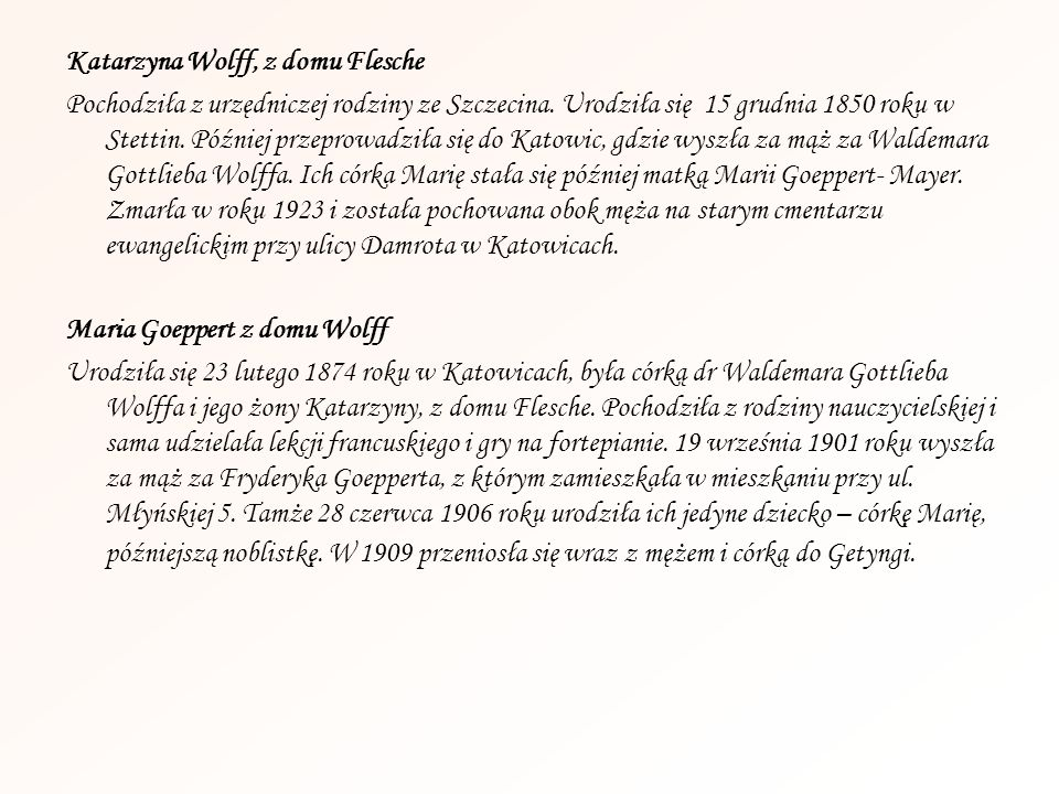 Katarzyna Wolff, z domu Flesche