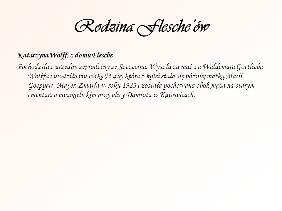 Rodzina Flesche'ów Katarzyna Wolff, z domu Flesche