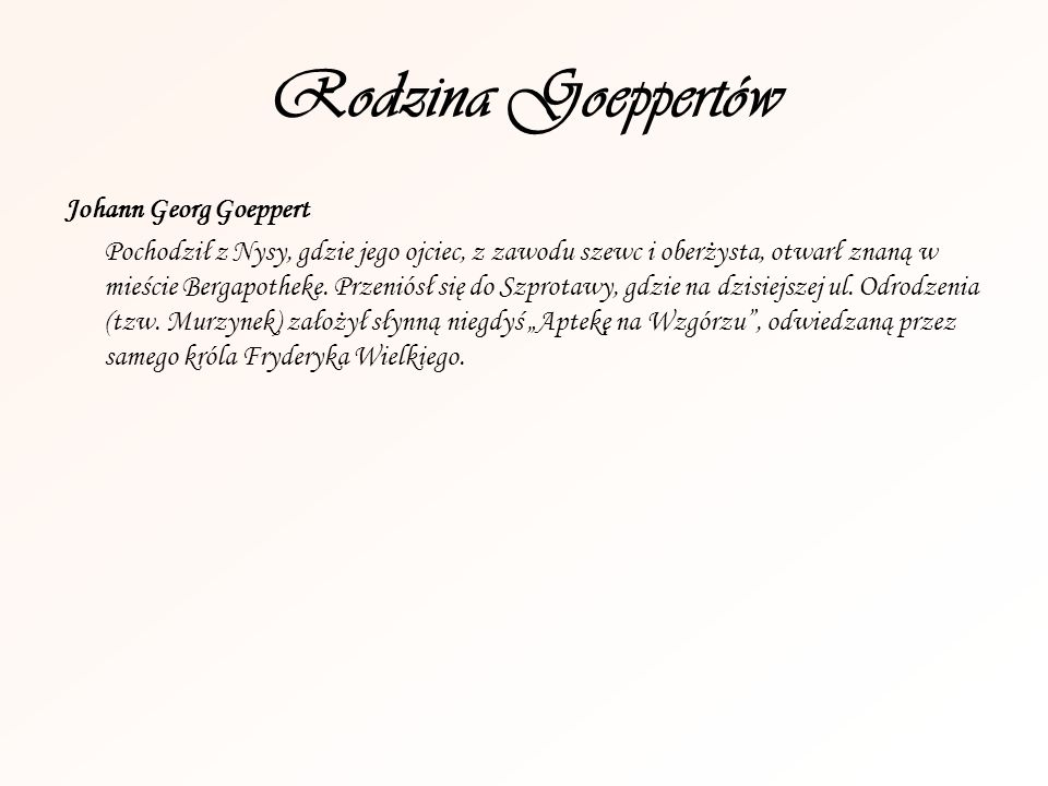 Rodzina Goeppertów Johann Georg Goeppert