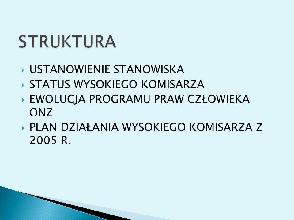 STRUKTURA USTANOWIENIE STANOWISKA STATUS WYSOKIEGO KOMISARZA