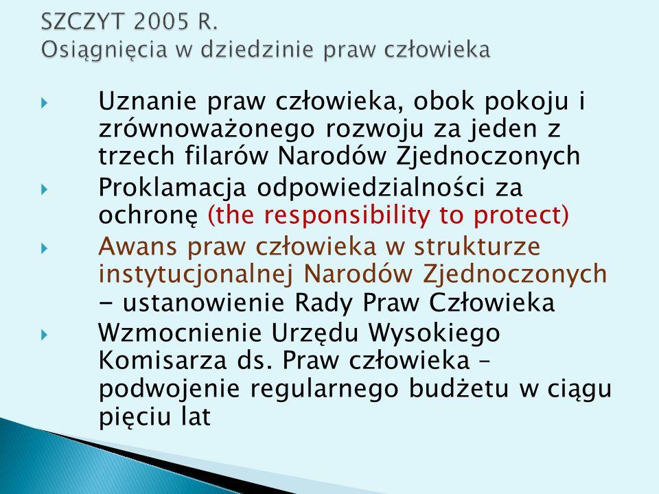 SZCZYT 2005 R. Osiągnięcia w dziedzinie praw człowieka