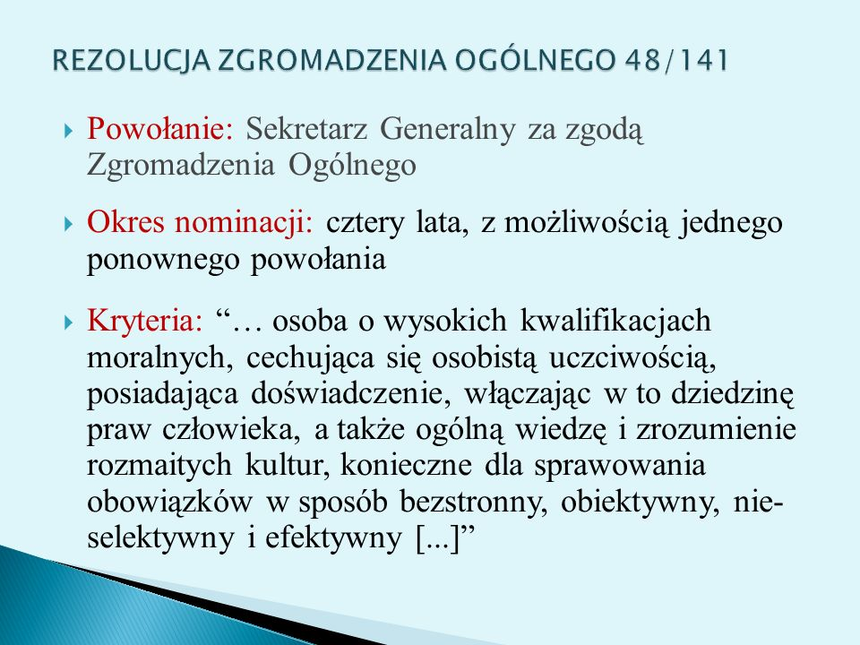 REZOLUCJA ZGROMADZENIA OGÓLNEGO 48/141