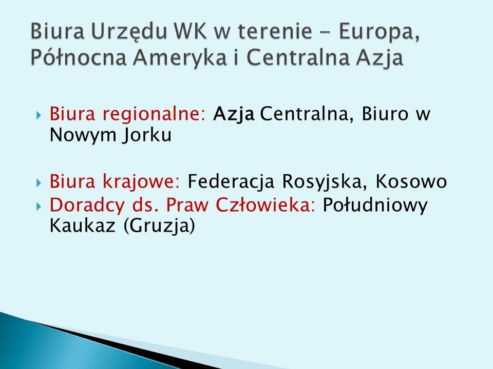 Biura Urzędu WK w terenie - Europa, Północna Ameryka i Centralna Azja