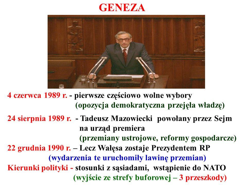 4 czerwca 1989 r. - pierwsze częściowo wolne wybory (opozycja demokratyczna przejęła władzę)