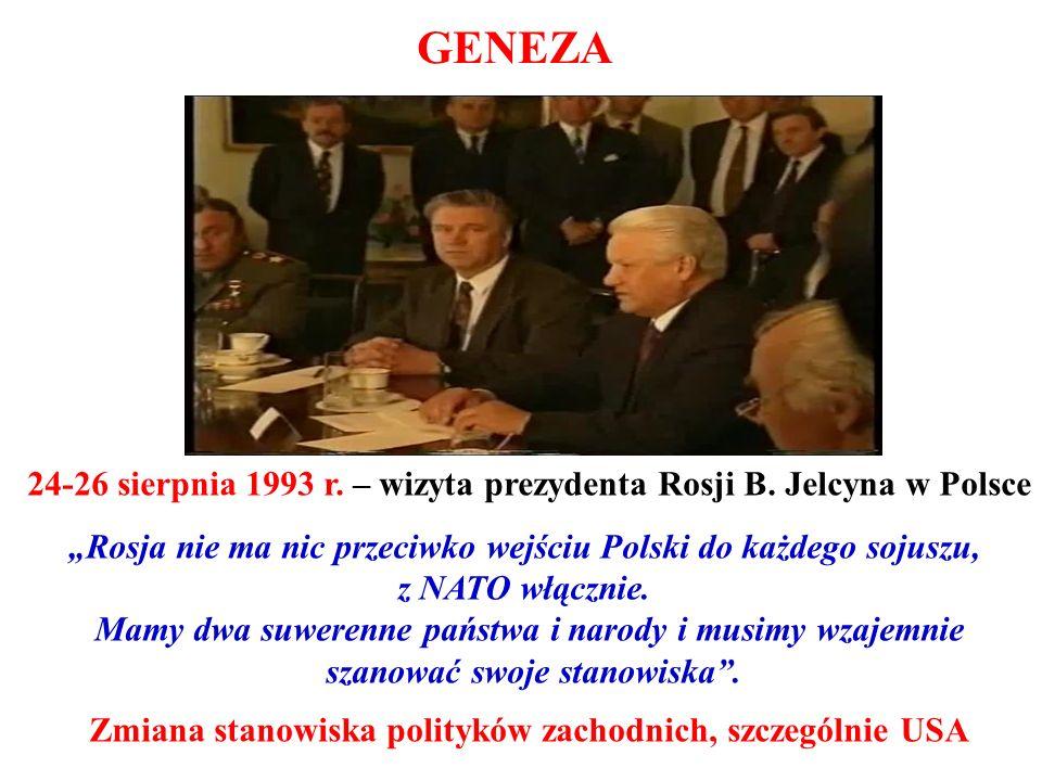 """GENEZA 24-26 sierpnia 1993 r. – wizyta prezydenta Rosji B. Jelcyna w Polsce. """"Rosja nie ma nic przeciwko wejściu Polski do każdego sojuszu,"""