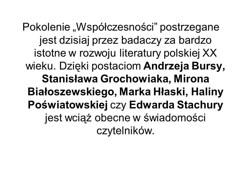 """Pokolenie """"Współczesności postrzegane jest dzisiaj przez badaczy za bardzo istotne w rozwoju literatury polskiej XX wieku."""