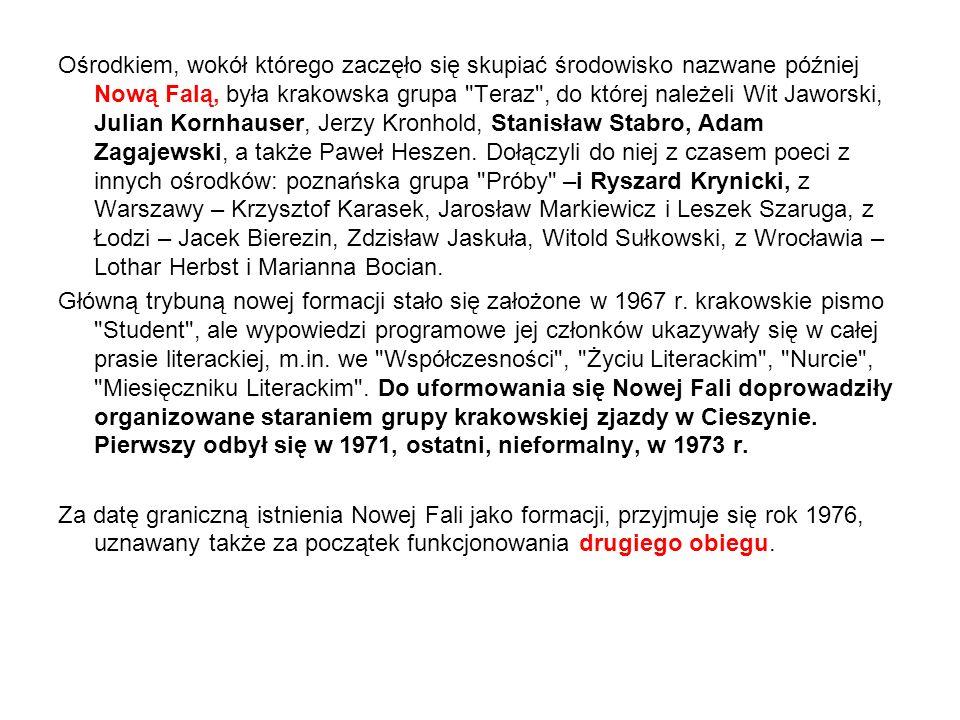 Ośrodkiem, wokół którego zaczęło się skupiać środowisko nazwane później Nową Falą, była krakowska grupa Teraz , do której należeli Wit Jaworski, Julian Kornhauser, Jerzy Kronhold, Stanisław Stabro, Adam Zagajewski, a także Paweł Heszen.