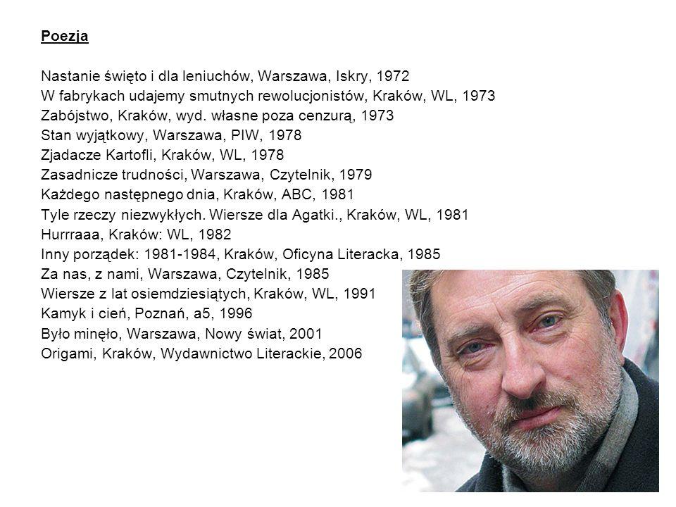 Poezja Nastanie święto i dla leniuchów, Warszawa, Iskry, 1972. W fabrykach udajemy smutnych rewolucjonistów, Kraków, WL, 1973.