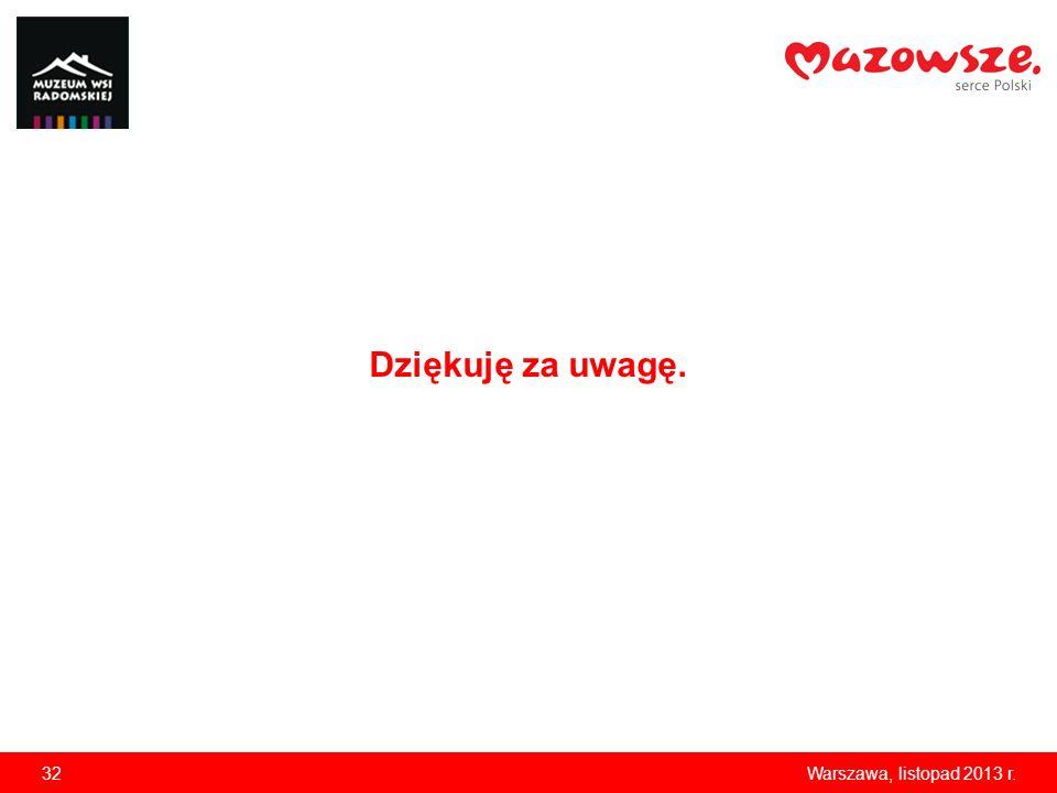 Dziękuję za uwagę. 32 Warszawa, listopad 2013 r.