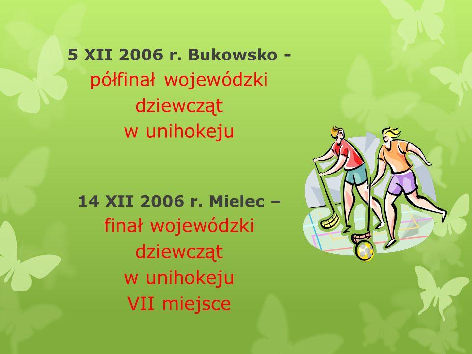 półfinał wojewódzki dziewcząt w unihokeju finał wojewódzki VII miejsce