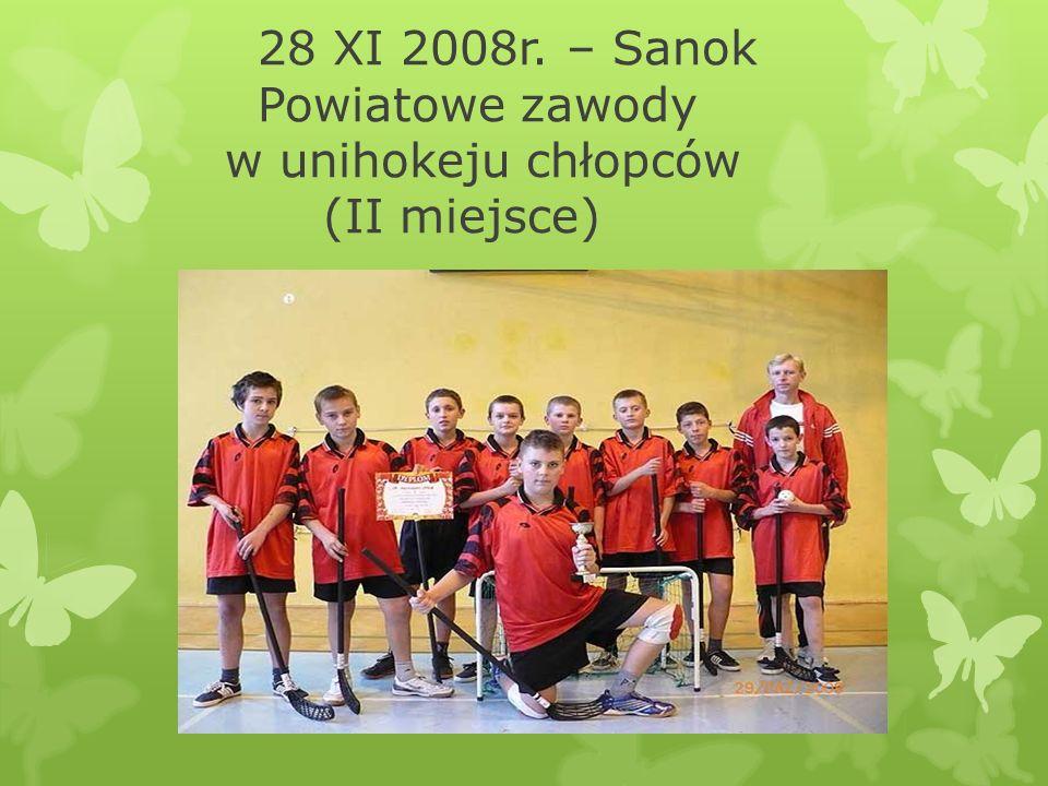 28 XI 2008r. – Sanok Powiatowe zawody w unihokeju chłopców (II miejsce)
