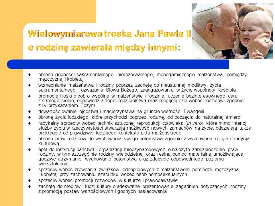 Wielowymiarowa troska Jana Pawła II o rodzinę zawierała między innymi: