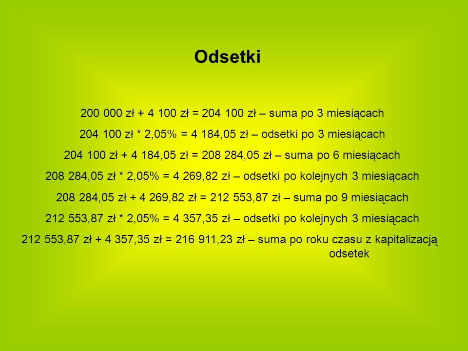 Odsetki 200 000 zł + 4 100 zł = 204 100 zł – suma po 3 miesiącach