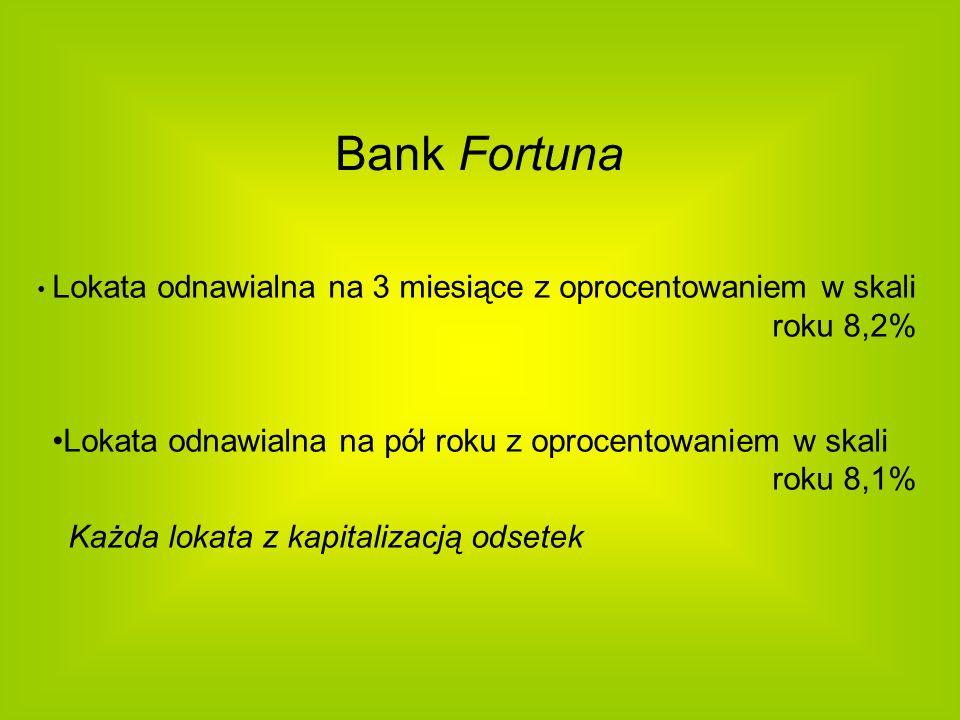 Bank Fortuna Lokata odnawialna na 3 miesiące z oprocentowaniem w skali roku 8,2%