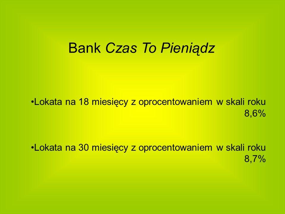 Bank Czas To Pieniądz Lokata na 18 miesięcy z oprocentowaniem w skali roku 8,6% Lokata na 30 miesięcy z oprocentowaniem w skali roku 8,7%