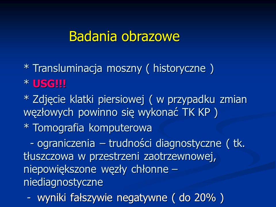 Badania obrazowe * Transluminacja moszny ( historyczne ) * USG!!!