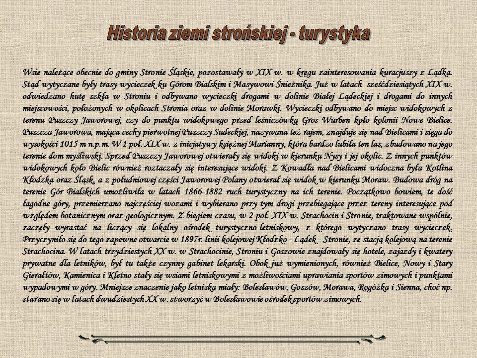 Historia ziemi strońskiej - turystyka