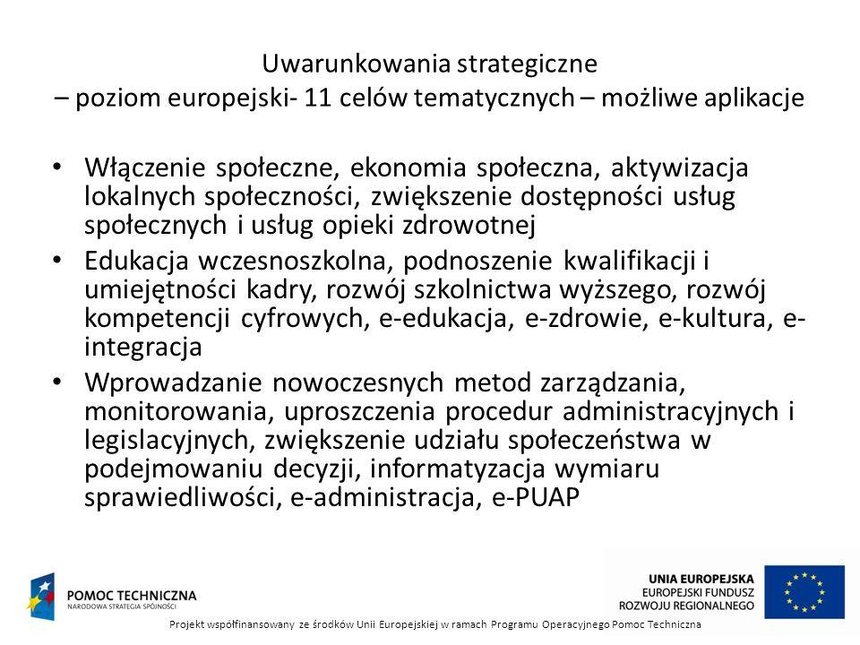 Uwarunkowania strategiczne – poziom europejski- 11 celów tematycznych – możliwe aplikacje