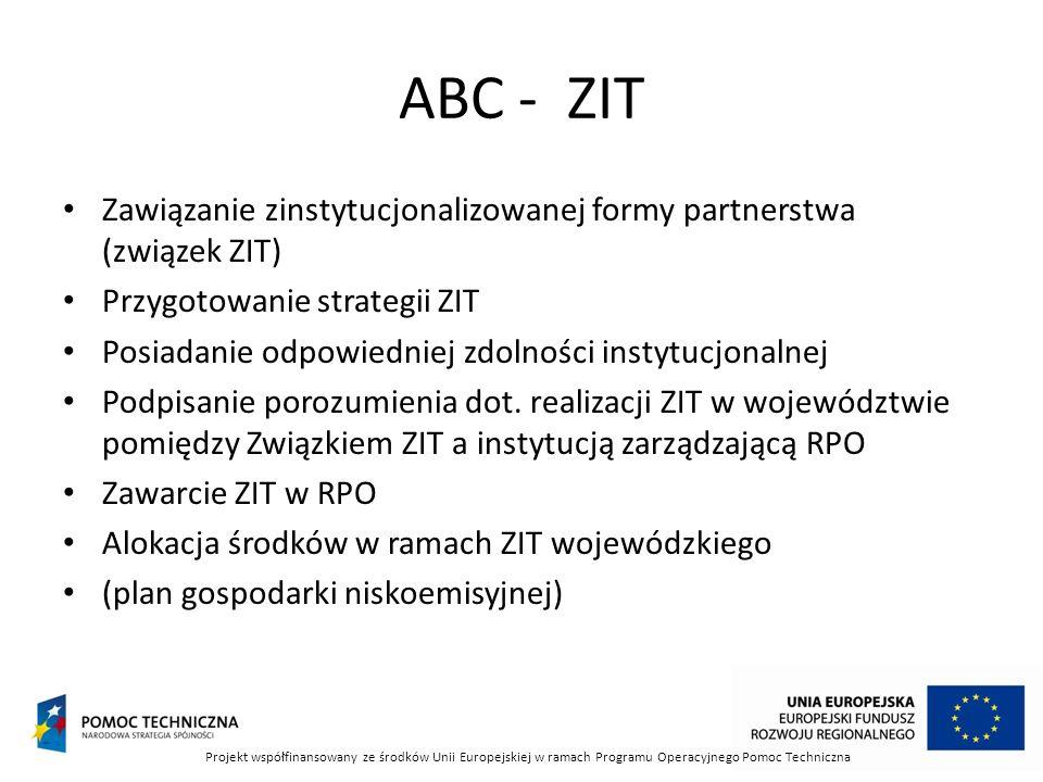 ABC - ZIT Zawiązanie zinstytucjonalizowanej formy partnerstwa (związek ZIT) Przygotowanie strategii ZIT.