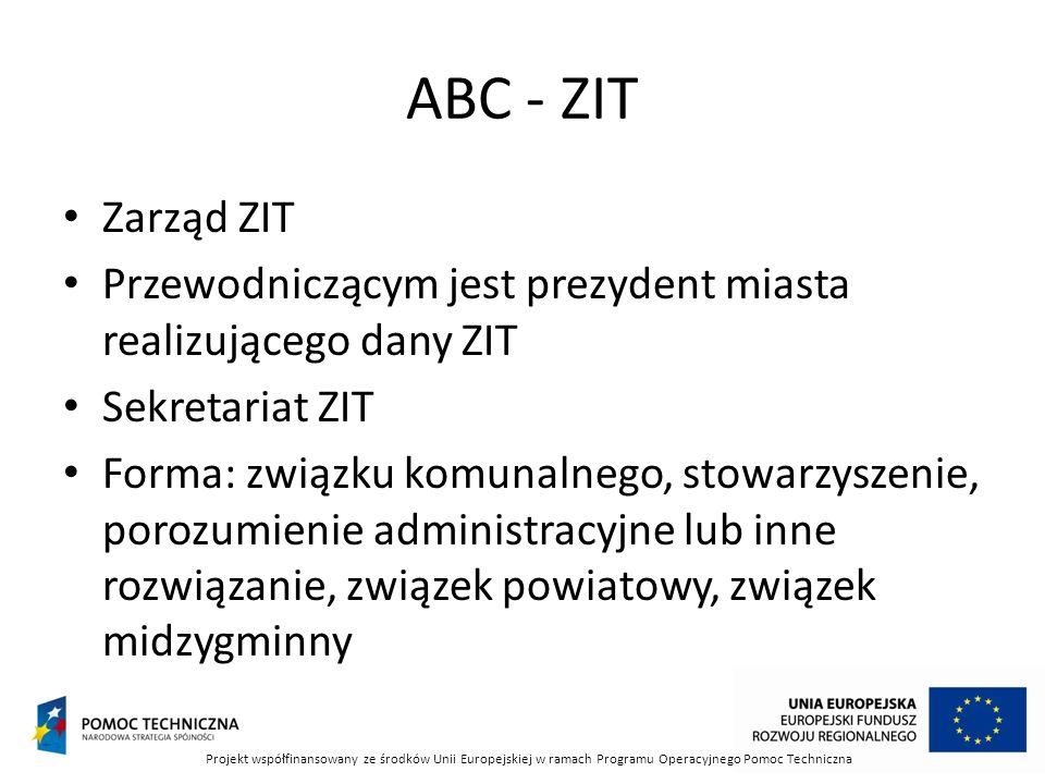 ABC - ZIT Zarząd ZIT. Przewodniczącym jest prezydent miasta realizującego dany ZIT. Sekretariat ZIT.